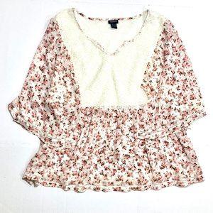 {Torrid} Lace Crochet & Pink Rose Sheer Blouse